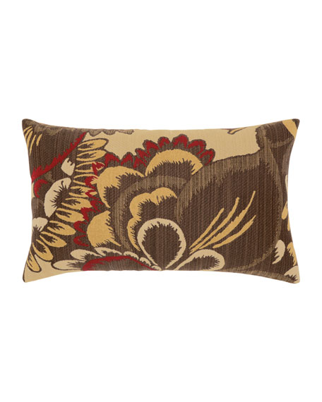 Elaine Smith Floral Lumbar Sunbrella Pillow, Yellow