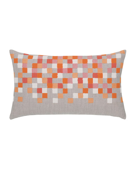 Check Lumbar Sunbrella Pillow, Orange