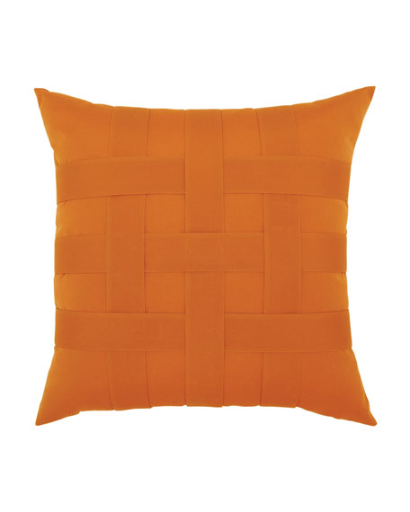 Basketweave Sunbrella Pillow, Orange