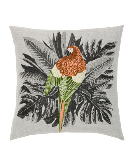 Macaw Sunbrella Pillow, Gray