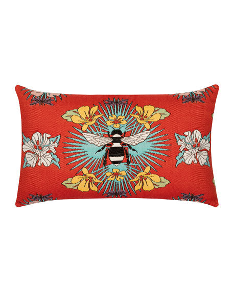 Tropical Bee Lumbar Sunbrella Pillow