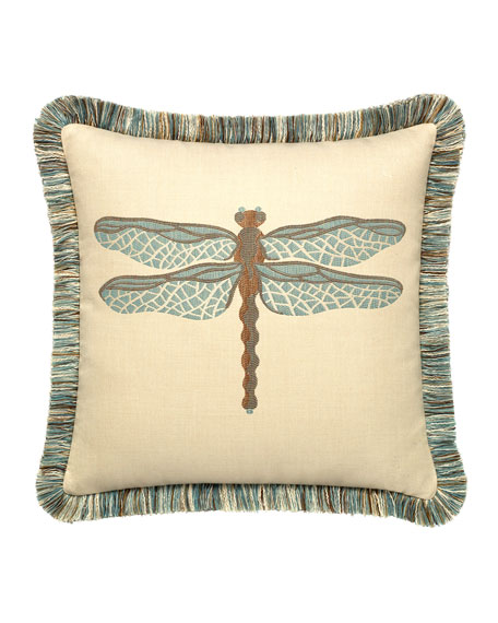 Elaine Smith Dragonfly Sunbrella Pillow, Light Blue