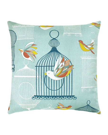 Elaine Smith Birds Cages Sunbrella Pillow