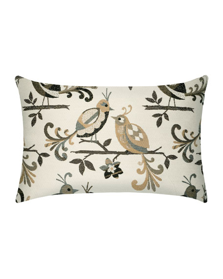 Lovebirds Lumbar Indoor/Outdoor Pillow