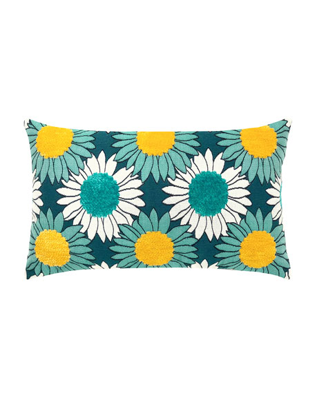 Sunflower Bloom Lumbar Sunbrella Pillow