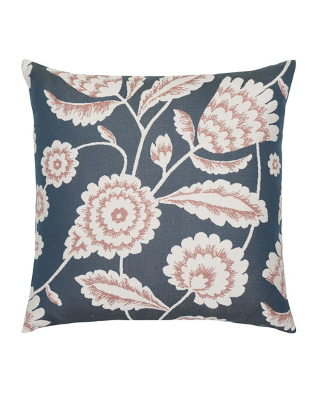 Elaine Smith Floral Vine Sunbrella Pillow, Indigo