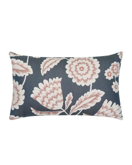 Floral Vine Lumbar Sunbrella Pillow, Indigo