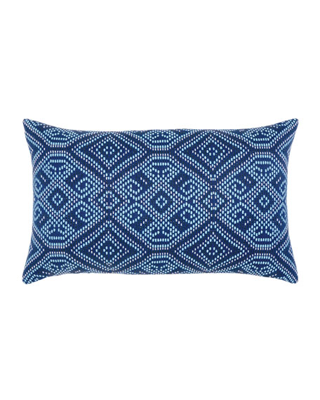 Tile Lumbar Sunbrella Pillow, Dark Blue