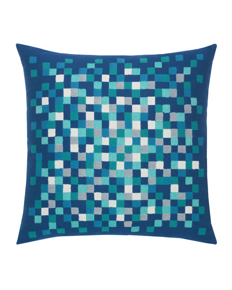 Check Sunbrella Pillow, Cobalt