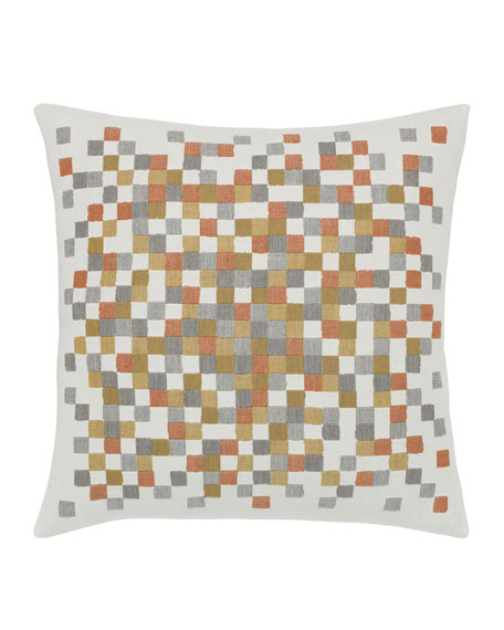 Elaine Smith Metallic Check Sunbrella Pillow