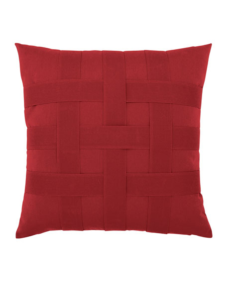Basketweave Sunbrella Pillow, Red