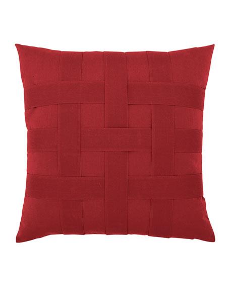 Elaine Smith Basketweave Sunbrella Pillow, Red