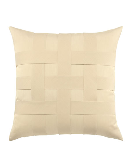 Basketweave Sunbrella Pillow, Ivory