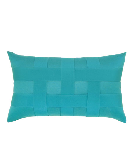 Basketweave Lumbar Sunbrella Pillow, Turquoise