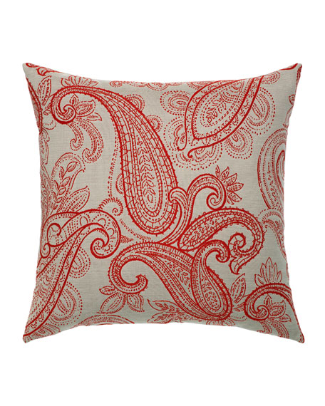 Elaine Smith Polished Paisley Sunbrella Pillow, Red