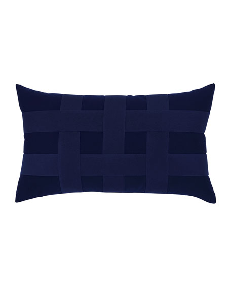 Elaine Smith Basketweave Lumbar Sunbrella Pillow, Navy
