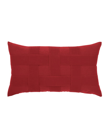 Basketweave Lumbar Sunbrella Pillow, Red