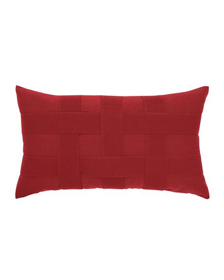 Elaine Smith Basketweave Lumbar Sunbrella Pillow, Red