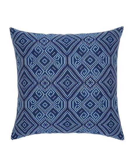Tile Sunbrella Pillow, Dark Blue