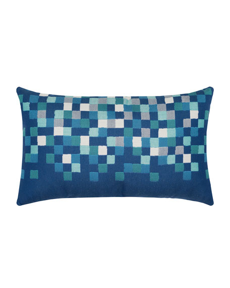 Elaine Smith Check Lumbar Sunbrella Pillow, Cobalt