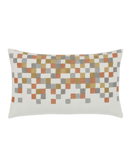 Elaine Smith Metallic Check Lumbar Sunbrella Pillow