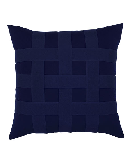 Elaine Smith Basketweave Sunbrella Pillow, Navy