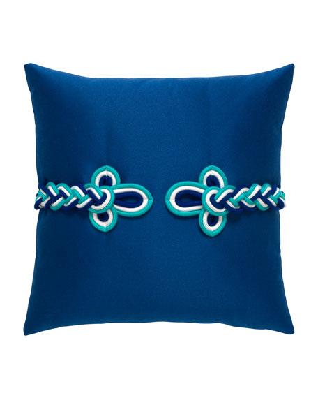 Frogs Clasp Sunbrella Pillow, Cobalt