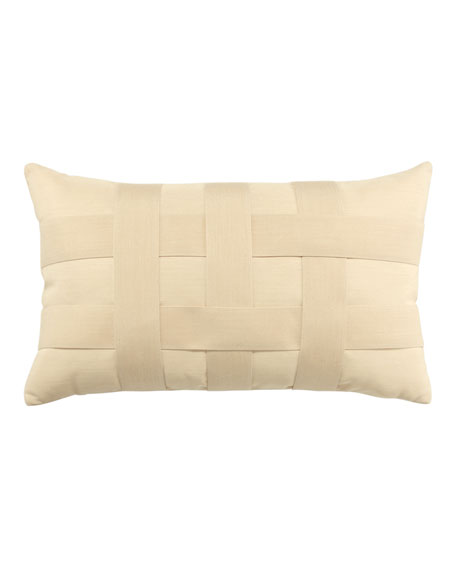 Basketweave Lumbar Sunbrella Pillow, Ivory
