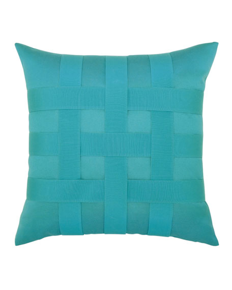 Elaine Smith Basketweave Sunbrella Pillow, Turquoise