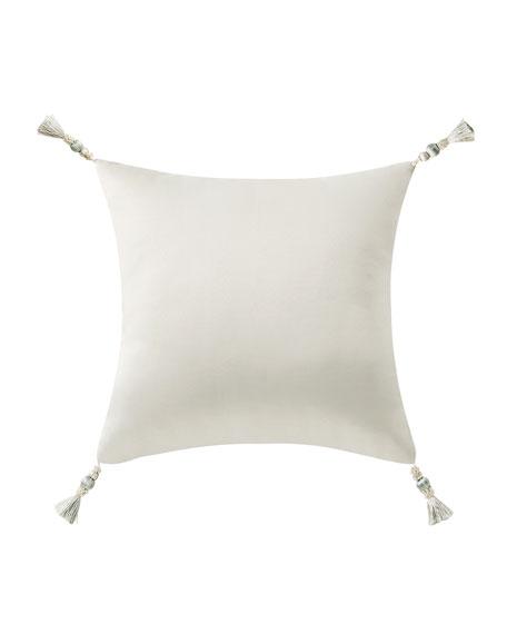 Daphne Embroidered Square Pillow w/ Tassel Trim
