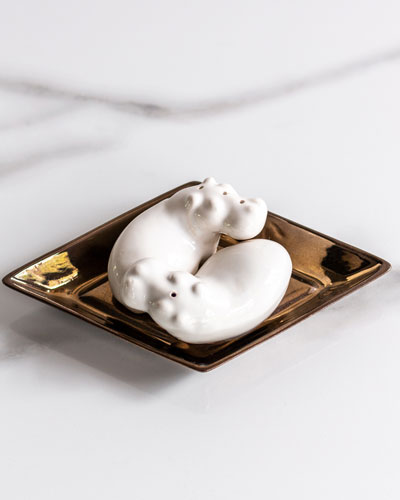 Hippo Salt & Pepper Shakers on Diamond Plate