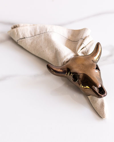 Cow Skull Napkin Holder  Bronze