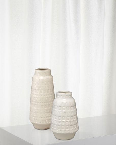 Coco Vessels in White Ceramic, Set of 2