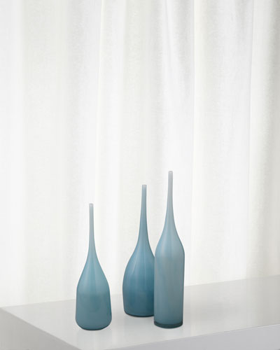 Pixie Decorative Vases in Periwinkle Blue Glass  Set of 3