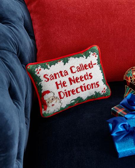 Santa Called Needlepoint Pillow