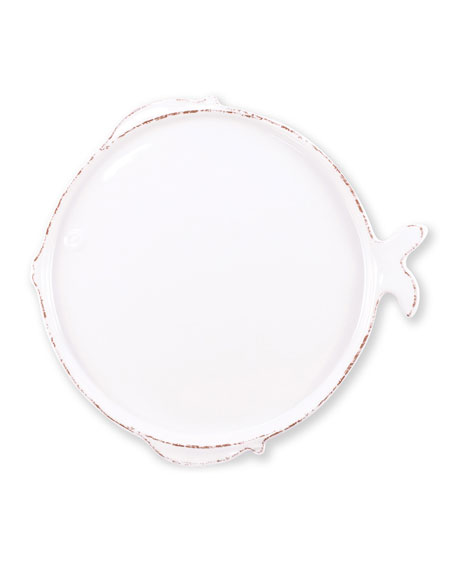 Melamine Lastra Fish Dinner Plate, White
