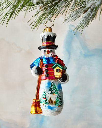 Snowy Cardinal Nest Ornament