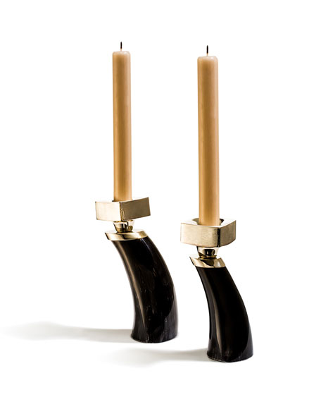 Dark Bull Horn Candlestick Holders, Set of 2
