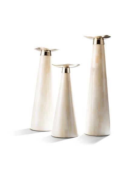 LADORADA Bone Candlestick Holder Trio Set