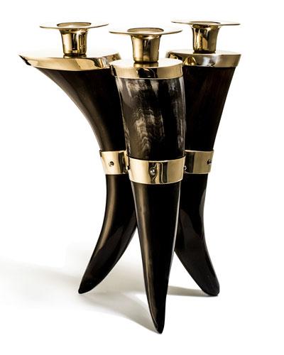 Bull Horn Triple Candleholder