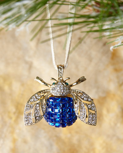 Sparkle Bee Blue Ornament