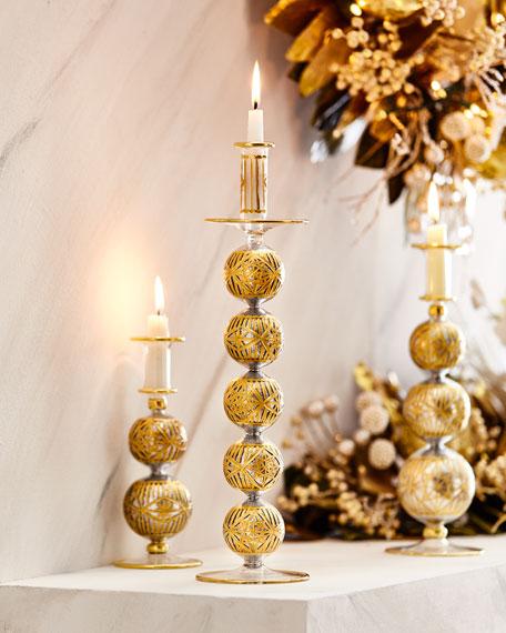"""18"""" Silver glitter & Gold Cut Candleholder"""