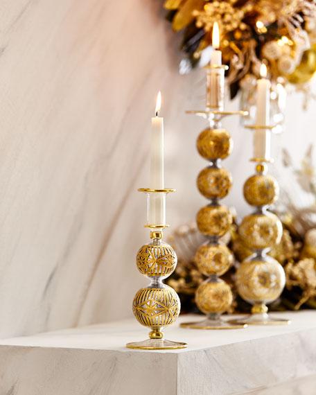 Small Silver Glitter & Gold Cut Candleholder