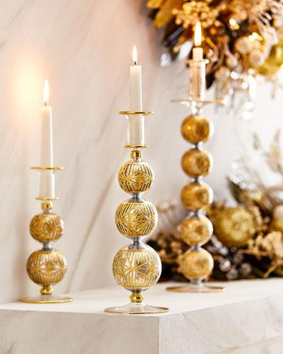 12.5 Silver Glitter & Gold Cut Candleholder