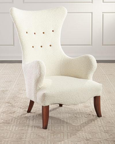 Ariana Faux Sheepskin Wing Chair