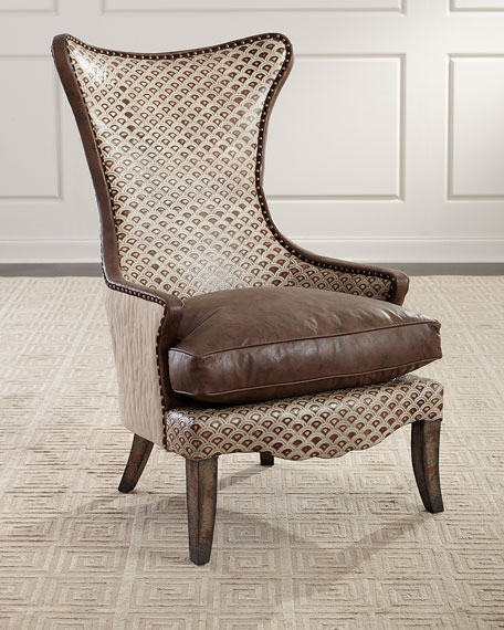 Old Hickory Tannery Hourglass Leather Wing Chair