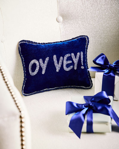 Oy Vey Beaded Pillow