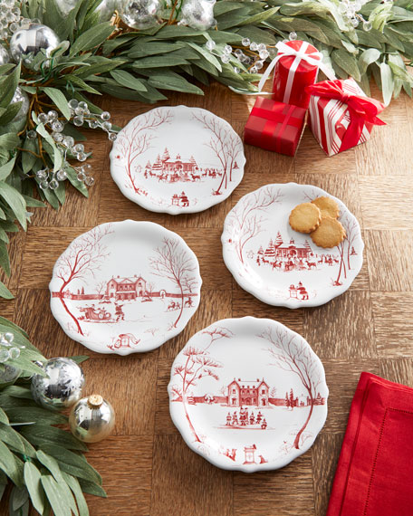 Country Estate Winter Frolic Party Plates, Set of 10