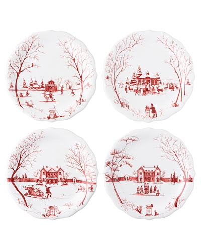 Country Estate Winter Frolic Salad Plates  Set of 4