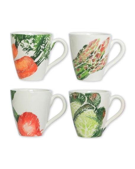 Spring Vegetables Assorted Mugs, Set of 4